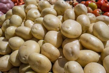 Fresh potatoes in the market