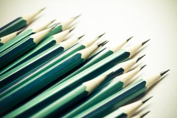 Set of sharpened green pencils