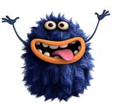 blue cartoon hairy monster 3d