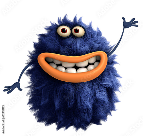 Deurstickers Sweet Monsters blue cartoon hairy monster 3d