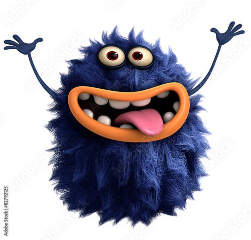 Keuken foto achterwand Sweet Monsters blue cartoon hairy monster 3d