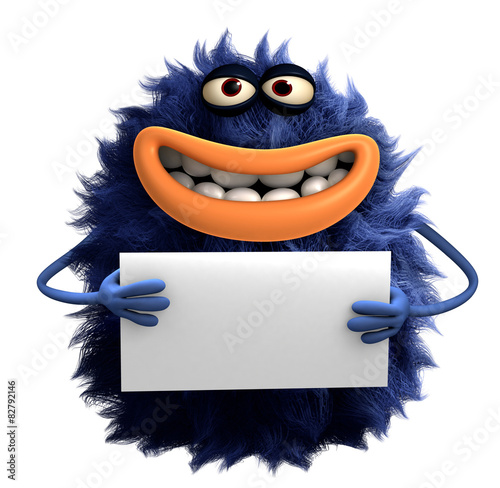 Poster Sweet Monsters blue cartoon hairy monster 3d