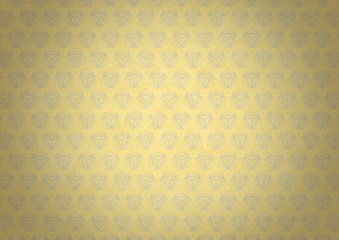 Yellow vintage wallpaper with blue flourishes and vignette