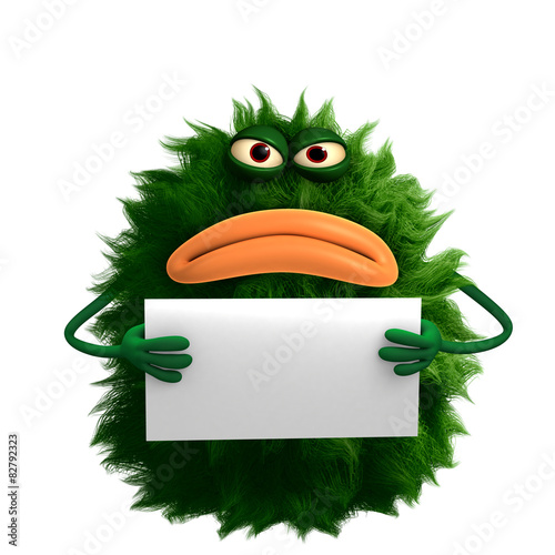 Tuinposter Sweet Monsters green cartoon hairy monster 3d