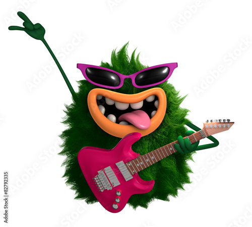 Fotobehang Sweet Monsters green cartoon hairy monster 3d