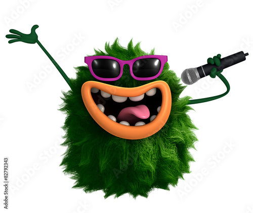 Keuken foto achterwand Sweet Monsters green cartoon hairy monster 3d
