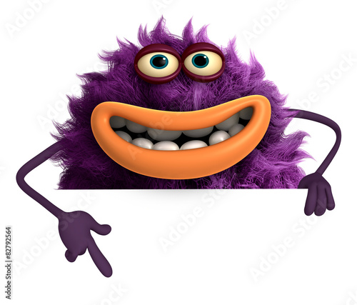 Deurstickers Sweet Monsters purple cartoon hairy monster 3d