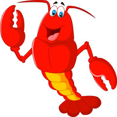 Cartoon lobster waving