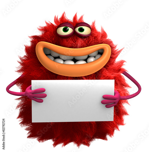 Plexiglas Sweet Monsters red cartoon hairy monster 3d