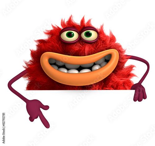 Fotobehang Sweet Monsters cartoon hairy monster 3d