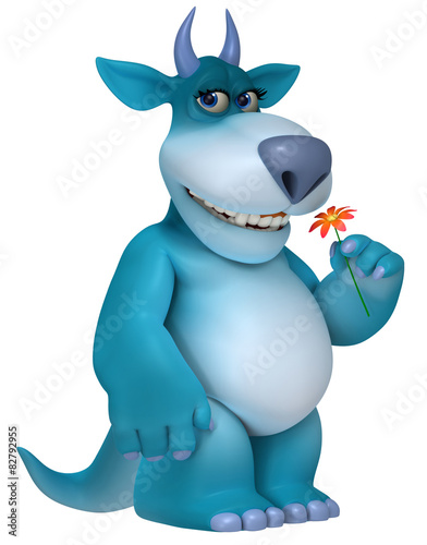 Deurstickers Sweet Monsters blue cartoon monster 3d