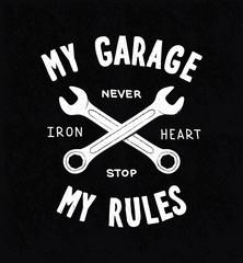 Vintage typographic biker or auto repair shop poster