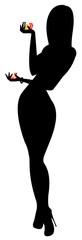 Poker girl silhouette