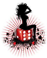 Sitting on dice grunge silhouette girl