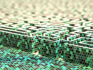 Technologic labyrinth, original three dimensional model.