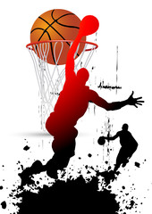 basketball player in jumping with white background