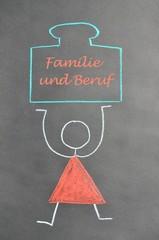 Kreidezeichnung Familie und Beruf