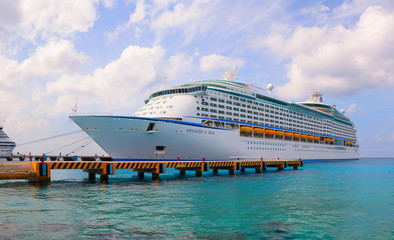 """Voyager of the Seas"" is docked in Cozumel island"