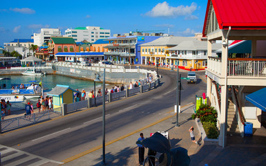 Famous island with little colorful buildings and various shops