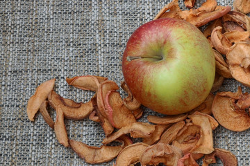 background texture of dried chopped apples