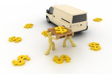 Logistics concepts, three dimensional rendering.