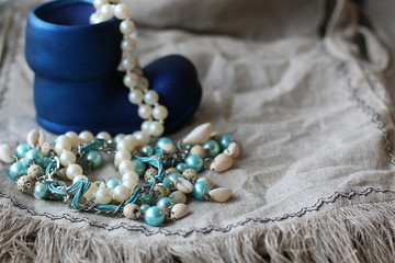 jewelry beads jewelry on linen background