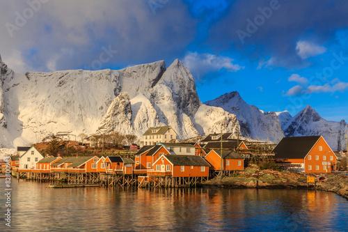 Aluminium Reine Fishing village in Lofoten Islands