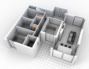 Aerial view of apartment rendering