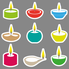 color diwali candles with flame stickers set eps10