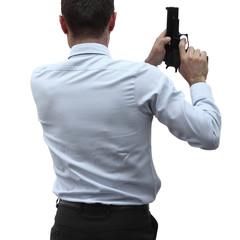 Aggressive businessman conceptual photo, isolated on white