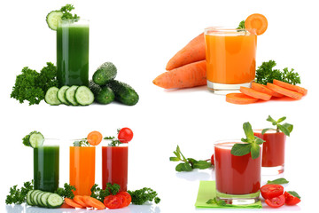 Fresh vegetable juices isolated on white. Collage.