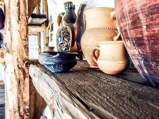 vintage ware on the wooden shelf