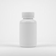 Blank pills container without label on white background