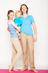 Happy sporty family