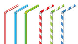 Fototapety Colorful drinking straws, vector set
