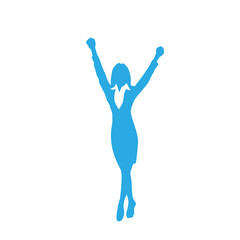 Business Woman Silhouette Excited Hold Hands Up