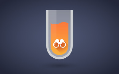 Orange chemical test tube icon with a binoculars
