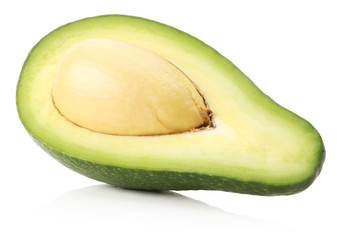 avocado half isolated on a white background