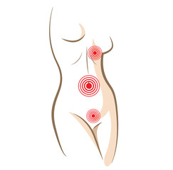 Concept of woman pain in body, vector