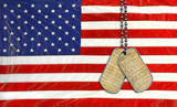 dog tags on American flag with United States constitution