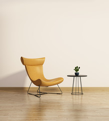 Modern chair with a side table