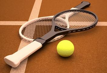 Tennis; rackets; sphere; court; game; ground.