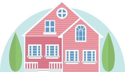 Pink vector house