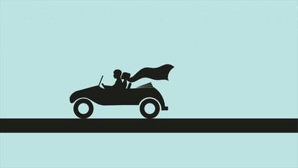 Wedding car silhouette, Video animation, HD 1080