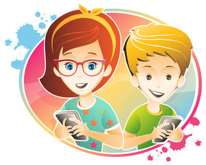 kids and technology /kids are using smartphone
