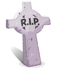 Cartoon Christian Tombstone With RIP also for halloween holidays