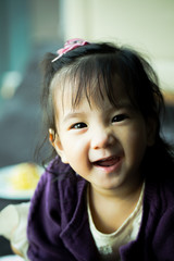 Portrait of Thai sister healthy young girl kid smiling at camera