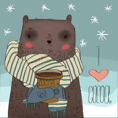 cute bear with a cocoa cup.