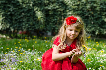 blond girl with flowers