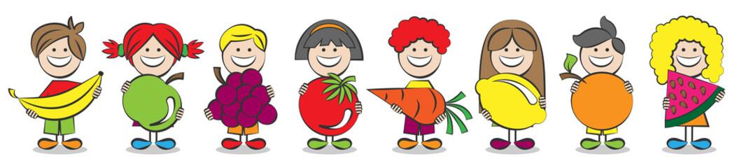 Dzieci trzymać wektor owoców w Twoich rękach